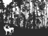 Deers in thick wood — Stock Vector