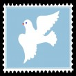 White dove on blue postage stamps. vector — Stock Vector