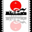 Vector industrial landscape on postage stamps — Stock Vector
