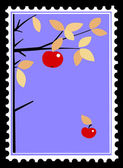 Apple on branch on postage stamps. vector — Stock Vector