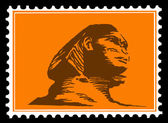 Vector silhouette of the sphinx on postage stamps — Stock Vector