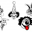 Vector set clown on white background — Stock Vector