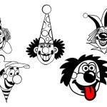 Vektor festgelegt Clown auf weißem Hintergrund — Stockvektor  #6600128
