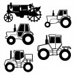 Stock Vector: Vector tractor set on white background