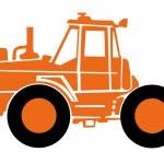 Vector orange taktor on a white background — Stock Vector
