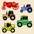 Vector tractor set on white background — Stock Vector