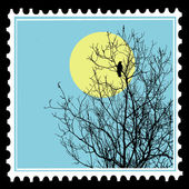 Vector silhouette ravens on tree on postage stamps — Stock Vector