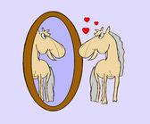 Illustration foal in mirror — Stock Vector