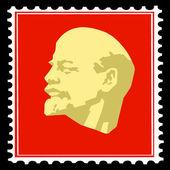 векторный силуэт ленина на почтовых марках — Cтоковый вектор