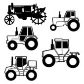 Vector tractor set on white background — Vecteur