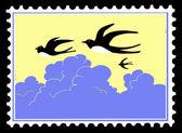 Векторный силуэт ласточка на почтовых марках — Cтоковый вектор