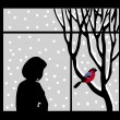 Vector silhouette of the woman against window — Vector de stock