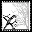 Vector silhouette of the birds on postage stamps — Stock Vector