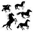 Vector set of the horses on white background — Stock Vector