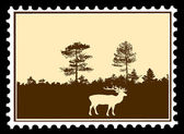 Vector silhouette deer on postage stamps — Stock Vector