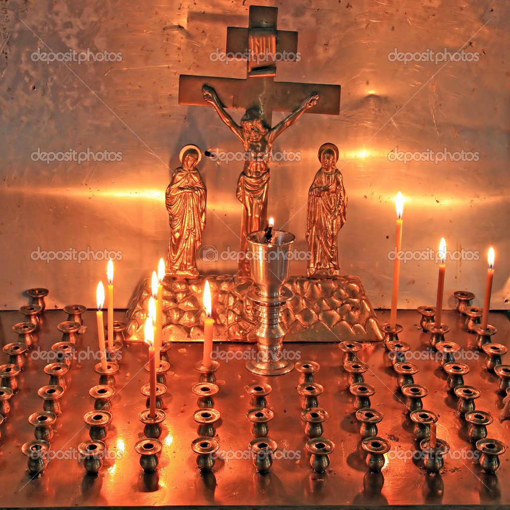 Candles in christian church  Stock Photo #6644760