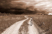 Bicycle on rural road — Stock Photo