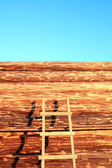 Construction of the new wooden building — Stock Photo