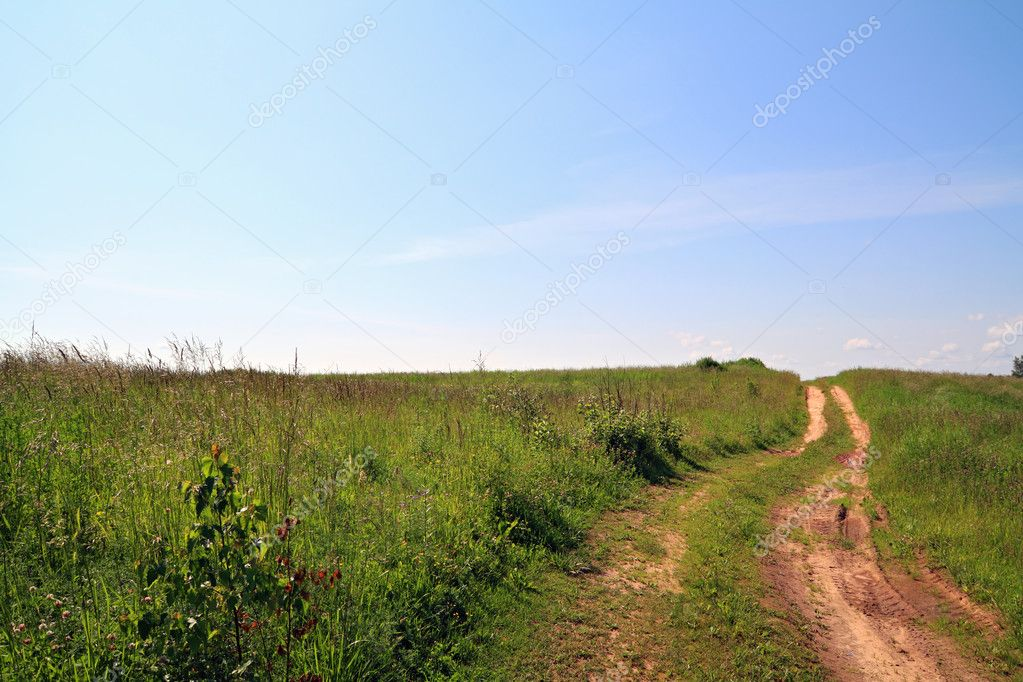 Rural road on field — Stock Photo #6743968