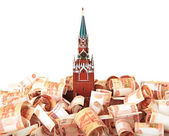 Model of the Moscow Kremlin in the background of five thousandth — Stock Photo