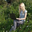 Pretty girl working with laptop outdoors. — Stock Photo