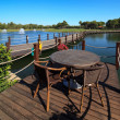Cafe on the artificial pond — Stock Photo