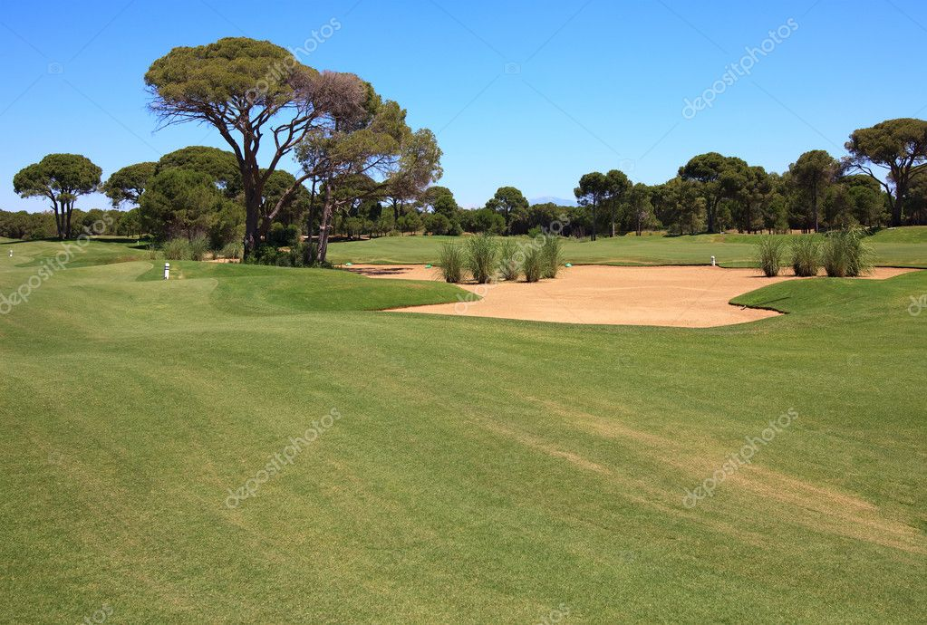 Golf course with sand trap. — Stock Photo #6683016