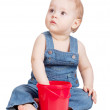 Small baby worker with toy bucket — Stock Photo #5428190