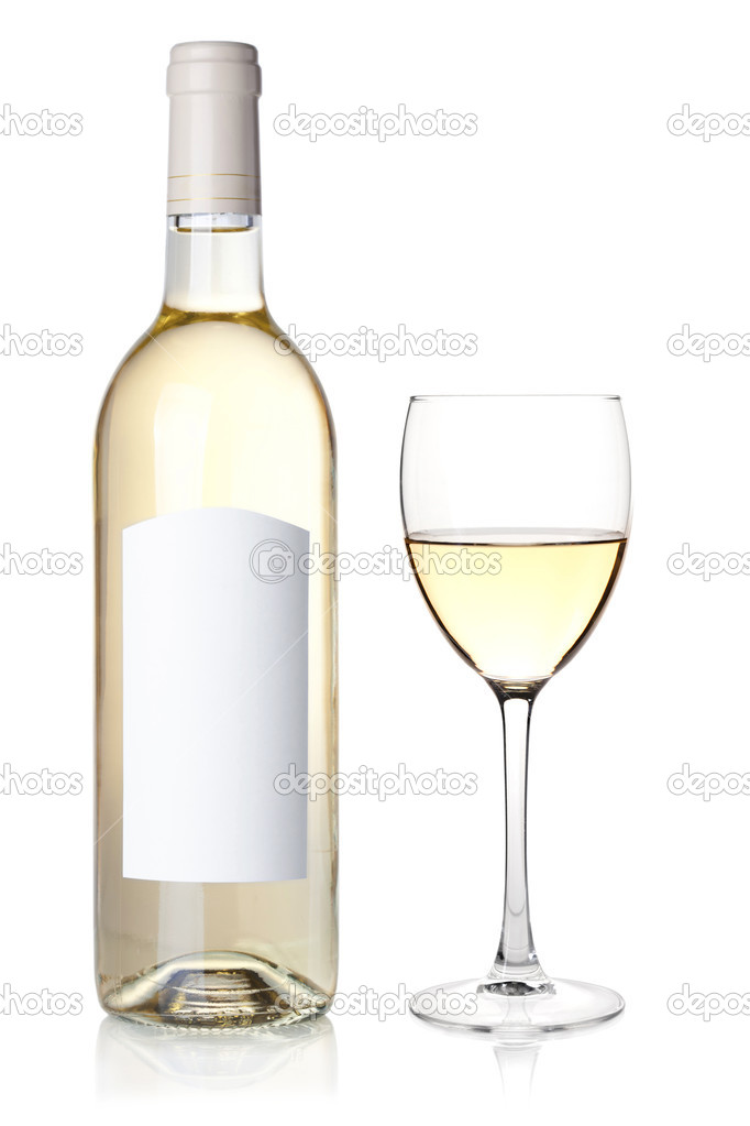 White wine in bottle with blank label and glass. Isolated on white background — Stock Photo #5428138