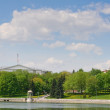 View at the Svisloch river and summer park in Minsk, Belarus — Stock Photo