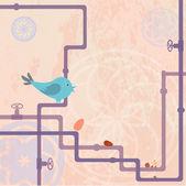 Vogel mit Eier — Stock Vector