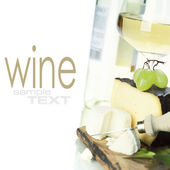 White wine, grape and cheese — Stock Photo
