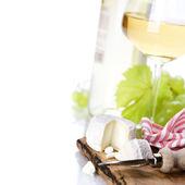 White wine, grape and cheese — Stock Photo