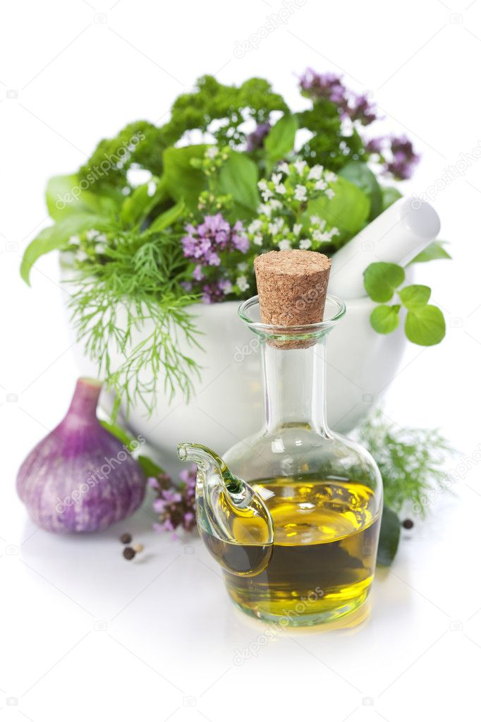 Healing herbs over white with copyspace — Stock Photo #6262097