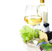 White wine and cheese — Stock Photo