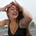 Wet beautiful sexy girl pose in rainy day. Black-white photo. — Stock Photo #6523764