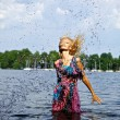 Stock Photo: Beautiful blond model standing on water. Outdoor conceptual photo.