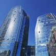 Three skyscrapers, business center in megalopolis - Foto Stock
