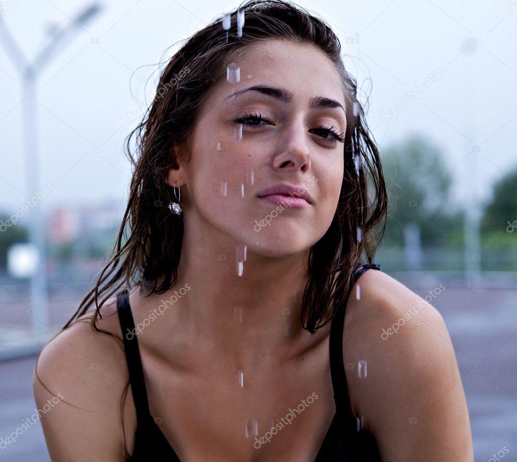 Wet beautiful sexy girl pose