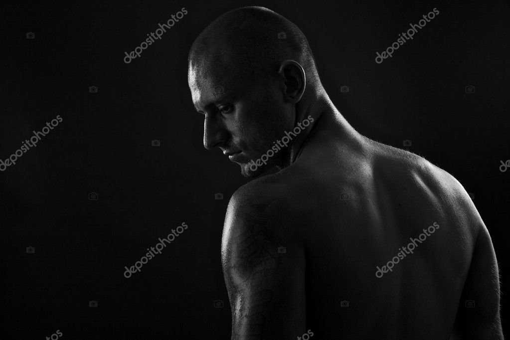 Poto of naked athlete with strong body  Stock Photo #6524195