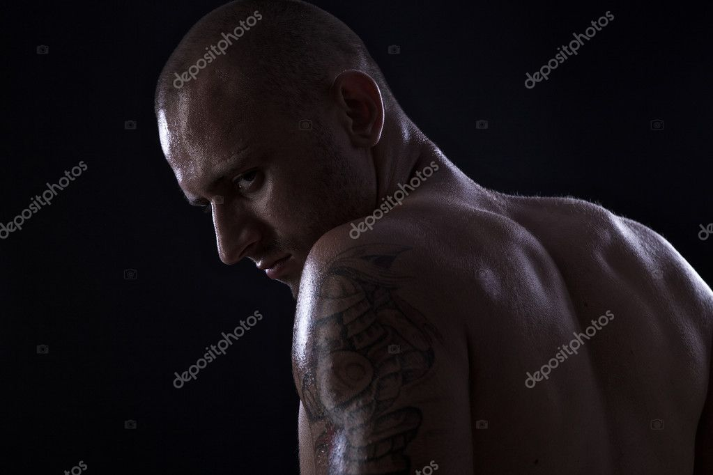 Poto of naked athlete with strong body — Stock Photo #6524203