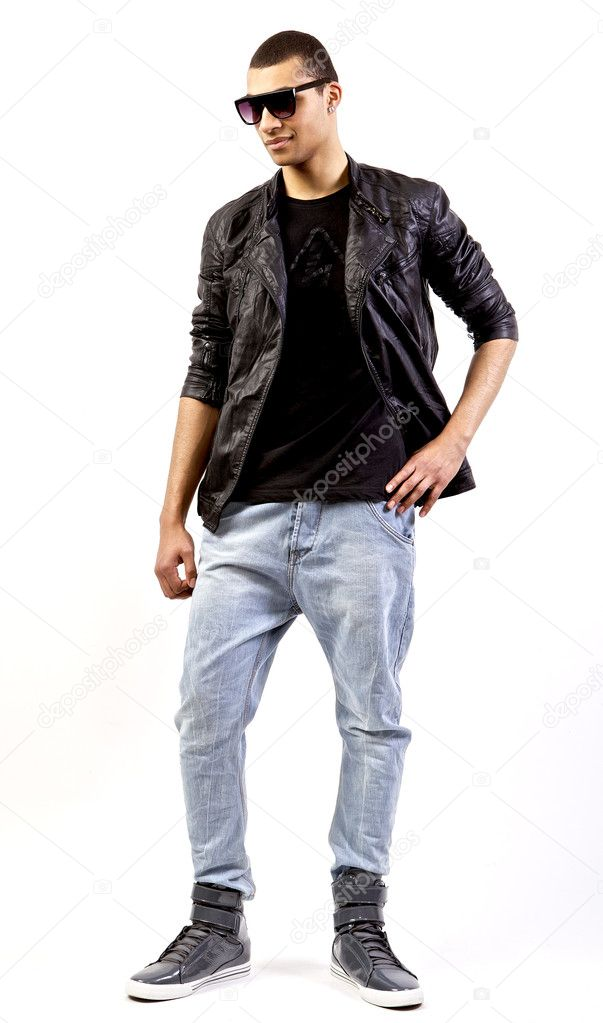 Young stylish mulatto in a leather jacket. — Stock Photo #6524855