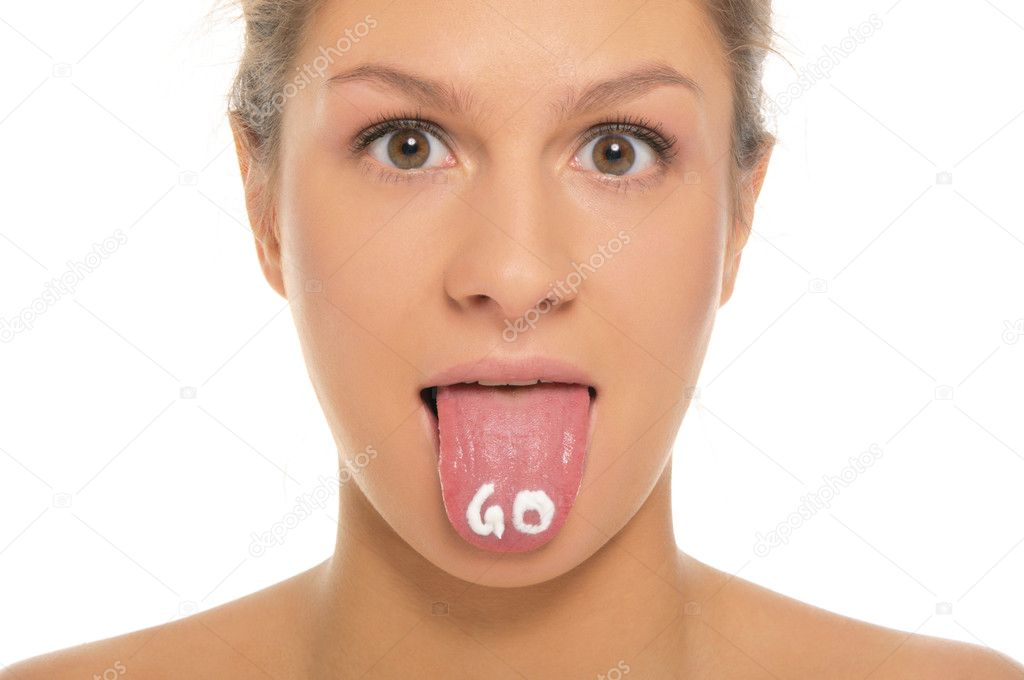 Woman puts out the tongue with an inscription go isolated in white — Stock Photo #5489417