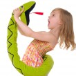 Stock Photo: Girl fights with toy snake