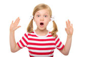 Surprised girl with hands up — Stock Photo