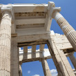Columns of entrance propylaea to ancient temple Parthenon in Acropolis — Stock Photo #6134656