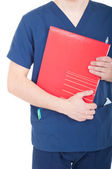 Doctor holding folder — Stock Photo
