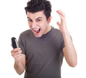 Man yelling into mobile — Stock Photo