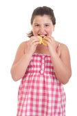 Girl eating chips — Stock Photo