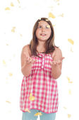 Girl with falling chips — Stock Photo